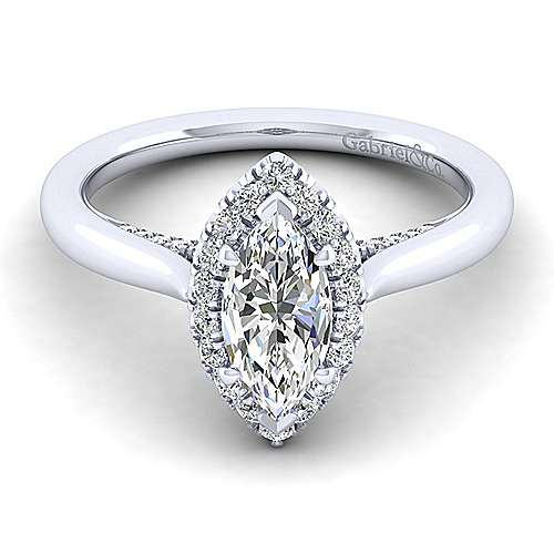 Gabriel - Cypress 14k White Gold Marquise  Halo Engagement Ring