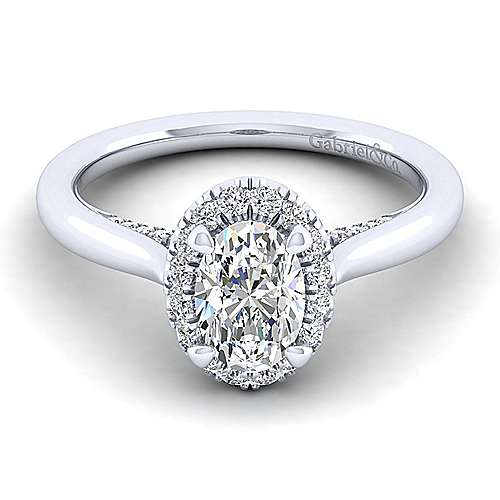 Gabriel - Cypress 14k White Gold Oval Halo Engagement Ring