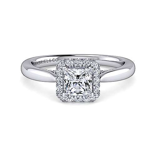 Cypress 14k White Gold Princess Cut Halo Engagement Ring angle 1