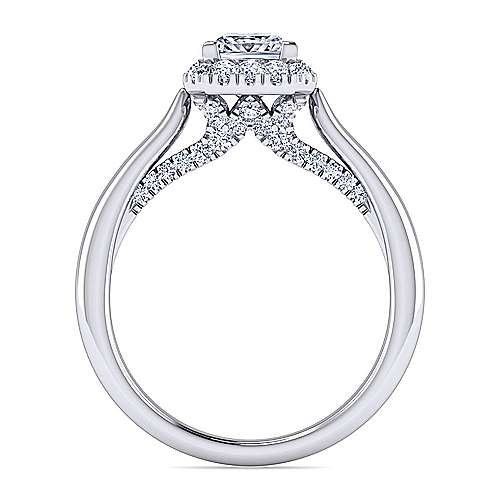 Cypress 14k White Gold Princess Cut Halo Engagement Ring angle 2
