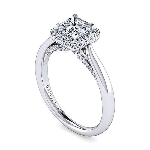 Cypress 14k White Gold Princess Cut Halo Engagement Ring angle 3