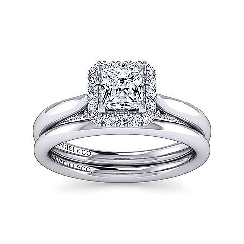 Cypress 14k White Gold Princess Cut Halo Engagement Ring angle 4
