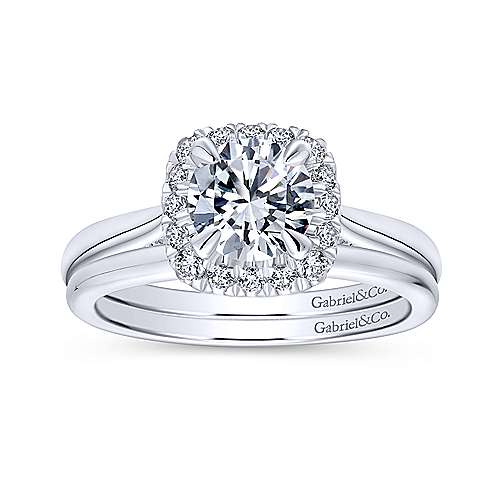 Cypress 14k White Gold Round Halo Engagement Ring angle 4
