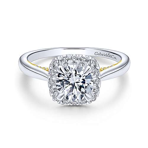Gabriel - Cypress 14k Yellow Gold Round Halo Engagement Ring
