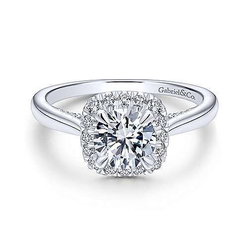 Gabriel - Cypress 18k White Gold Round Halo Engagement Ring