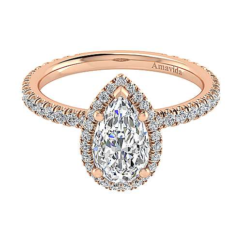 Daffodil 18k Rose Gold Pear Shape Halo Engagement Ring angle 1