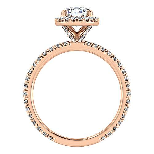 Daffodil 18k Rose Gold Pear Shape Halo Engagement Ring angle 2