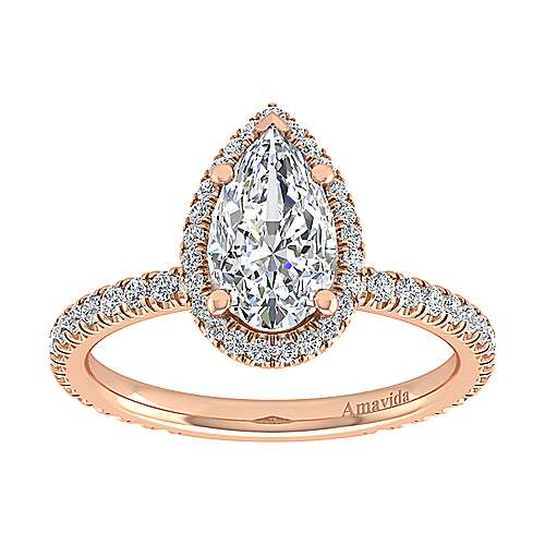 Daffodil 18k Rose Gold Pear Shape Halo Engagement Ring angle 5