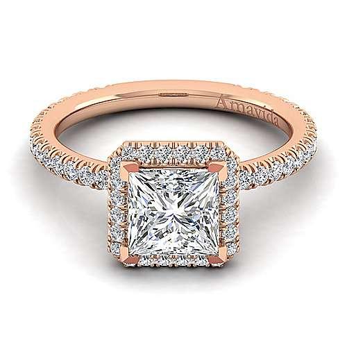 Daffodil 18k Rose Gold Princess Cut Halo Engagement Ring angle 1