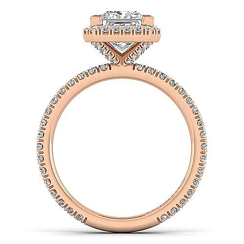 Daffodil 18k Rose Gold Princess Cut Halo Engagement Ring angle 2