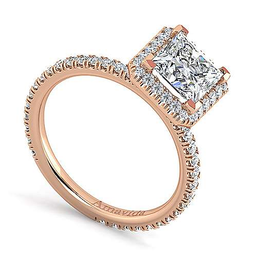 Daffodil 18k Rose Gold Princess Cut Halo Engagement Ring angle 3