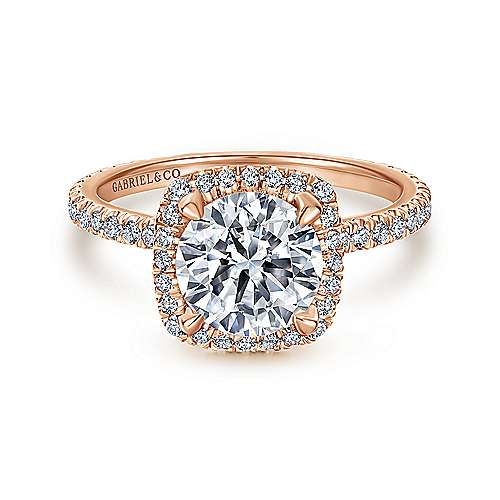 Gabriel - Daffodil 18k Rose Gold Round Halo Engagement Ring