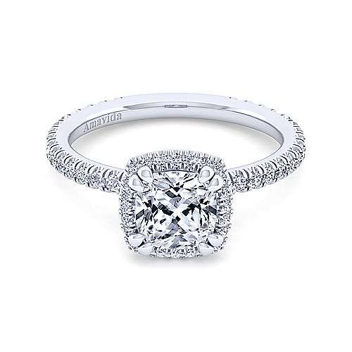 Gabriel - Daffodil 18k White Gold Cushion Cut Halo Engagement Ring