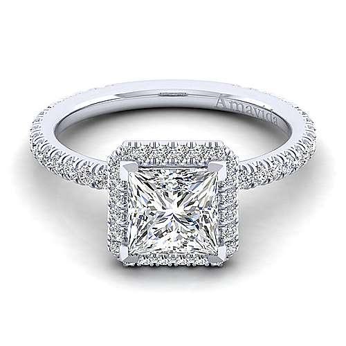 Gabriel - Daffodil 18k White Gold Princess Cut Halo Engagement Ring