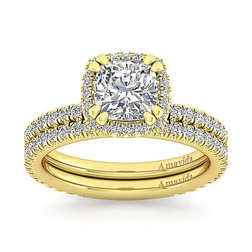 Daffodil 18k Yellow Gold Cushion Cut Halo Engagement Ring