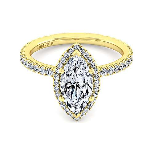 Gabriel - Daffodil 18k Yellow Gold Marquise  Halo Engagement Ring