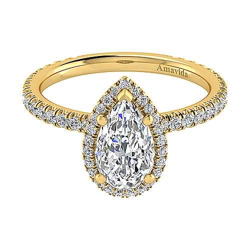 Gabriel - Daffodil 18k Yellow Gold Pear Shape Halo Engagement Ring