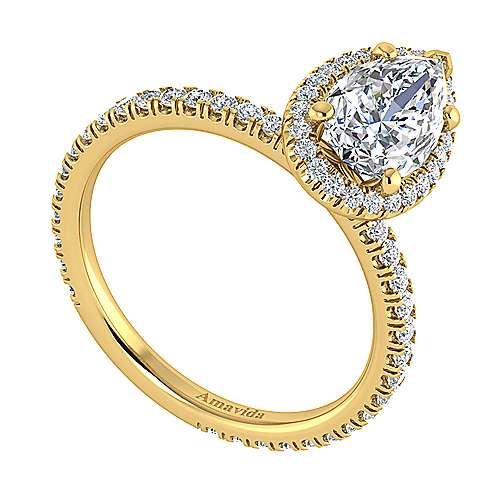Daffodil 18k Yellow Gold Pear Shape Halo Engagement Ring angle 3