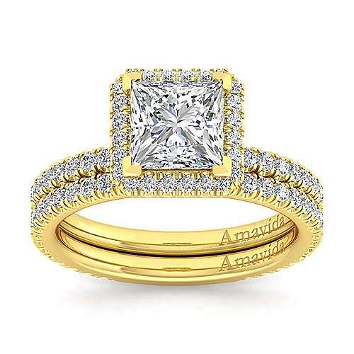 Daffodil 18k Yellow Gold Princess Cut Halo Engagement Ring