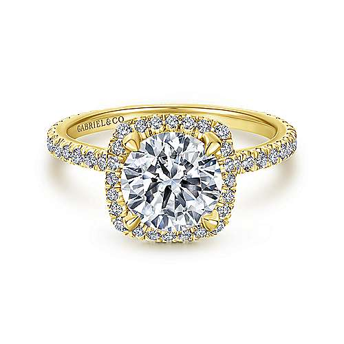 Gabriel - Daffodil 18k Yellow Gold Round Halo Engagement Ring