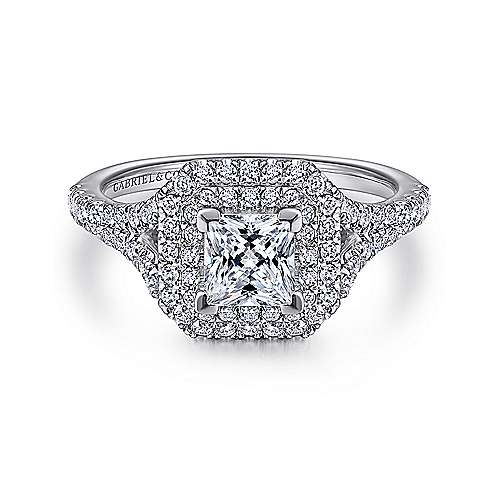 Dahlia 14k White Gold Princess Cut Double Halo Engagement Ring angle 1