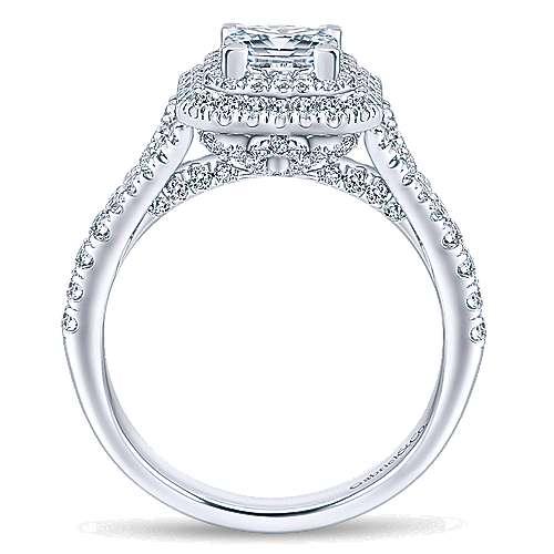 Dahlia 14k White Gold Princess Cut Double Halo Engagement Ring