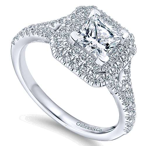 Dahlia 14k White Gold Princess Cut Double Halo Engagement Ring angle 3