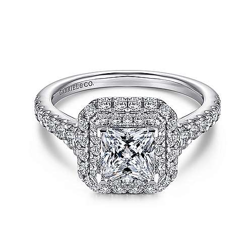 Gabriel - Daisy 14k White Gold Princess Cut Double Halo Engagement Ring