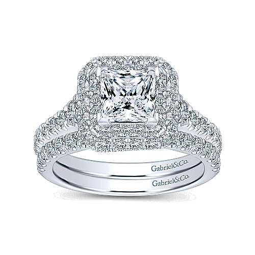 Daisy 14k White Gold Princess Cut Double Halo Engagement Ring angle 4