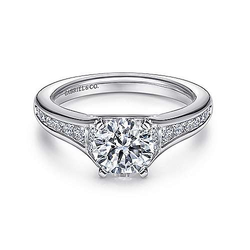 Gabriel - Dakota 14k White Gold Round Straight Engagement Ring