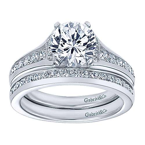 Dakota 14k White Gold Round Straight Engagement Ring angle 4