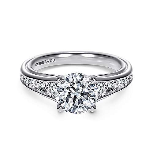 Gabriel - Dallas 14k White Gold Round Straight Engagement Ring