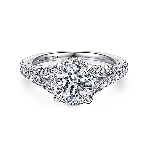 Gabriel - Damiana 18k White Gold Round Halo Engagement Ring