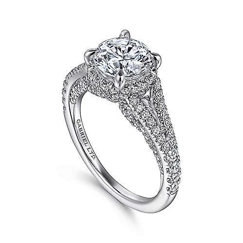 Damiana 18k White Gold Round Halo Engagement Ring angle 3