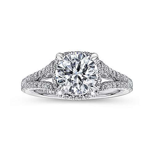 Damiana 18k White Gold Round Halo Engagement Ring angle 5