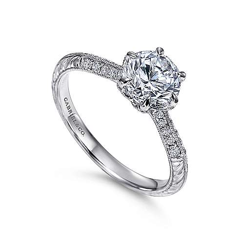 Dane Platinum Round Straight Engagement Ring angle 3