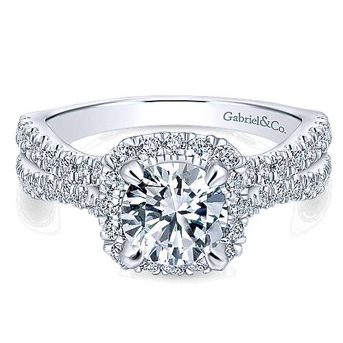 Gabriel - Danica 14k White Gold Round Halo Engagement Ring
