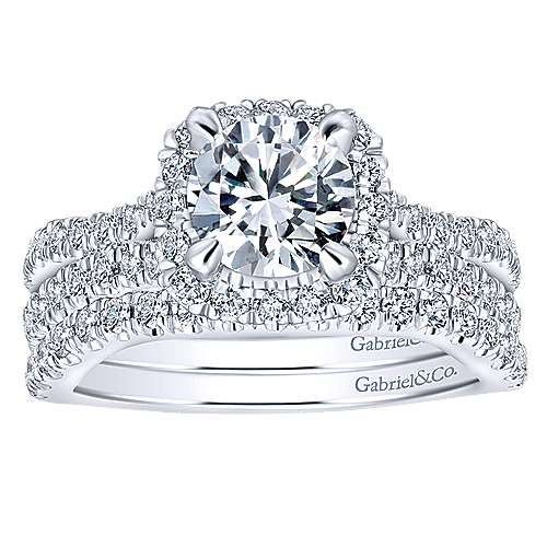 Danica 14k White Gold Round Halo Engagement Ring angle 4