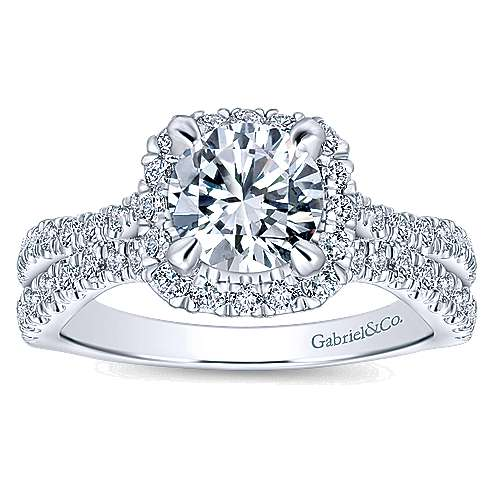 Danica 14k White Gold Round Halo Engagement Ring
