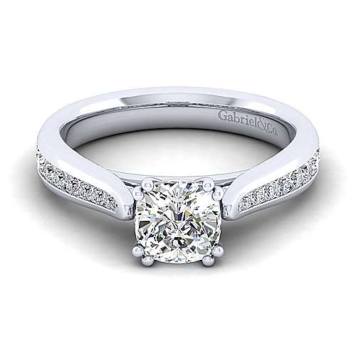 Gabriel - Danielle 14k White Gold Cushion Cut Straight Engagement Ring