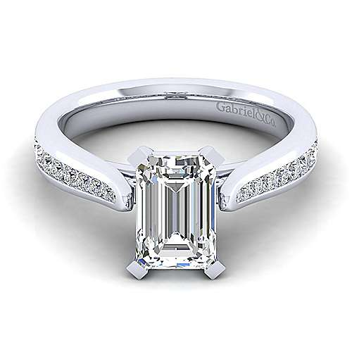 Gabriel - Danielle 14k White Gold Emerald Cut Straight Engagement Ring