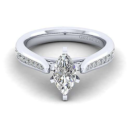 Gabriel - Danielle 14k White Gold Marquise  Straight Engagement Ring