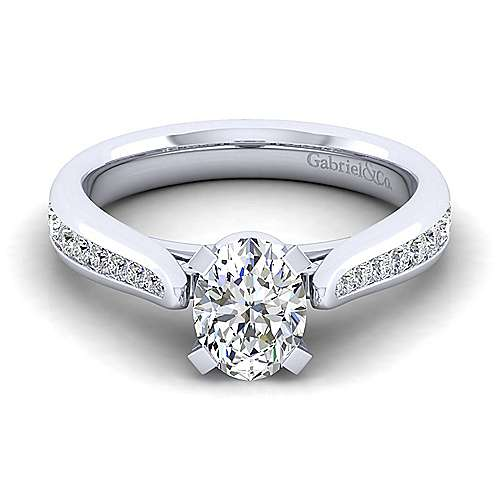 Gabriel - Danielle 14k White Gold Oval Straight Engagement Ring