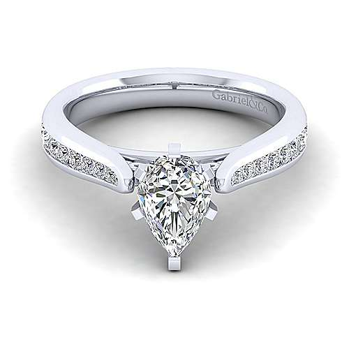 Gabriel - Danielle 14k White Gold Pear Shape Straight Engagement Ring