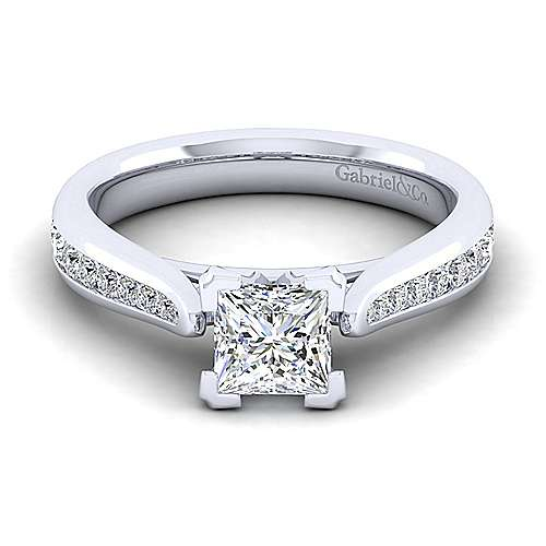 Gabriel - Danielle 14k White Gold Princess Cut Straight Engagement Ring