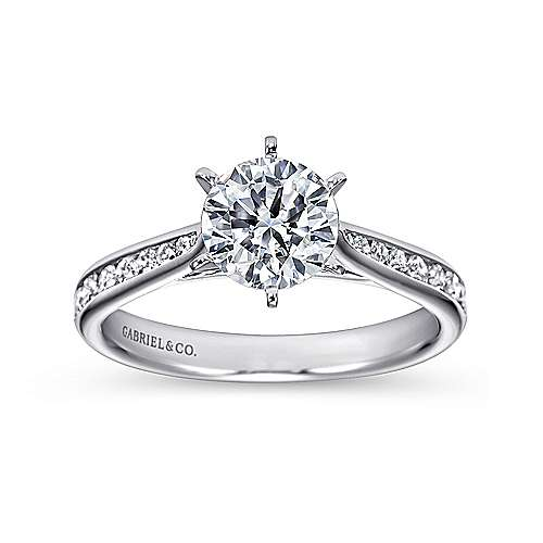 Danielle 14k White Gold Round Straight Engagement Ring angle 5