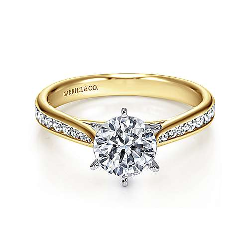 Gabriel - Danielle 14k Yellow And White Gold Round Straight Engagement Ring