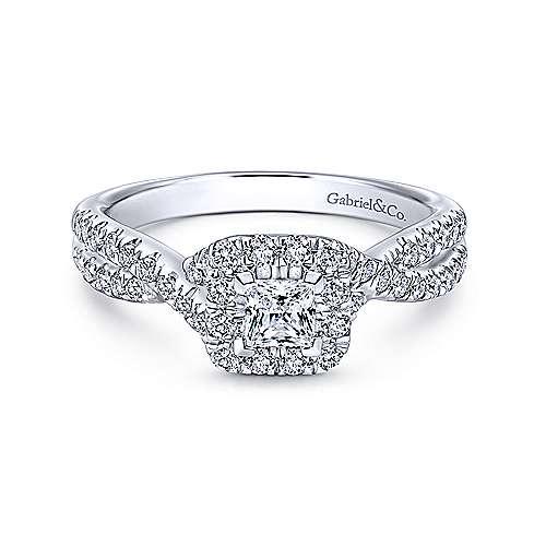 Gabriel - Dante 14k White Gold Princess Cut Halo Engagement Ring