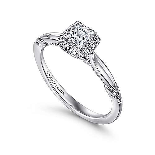 Daraga 14k White Gold Princess Cut Halo Engagement Ring angle 3