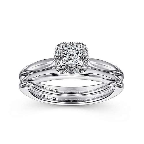 Daraga 14k White Gold Princess Cut Halo Engagement Ring angle 4